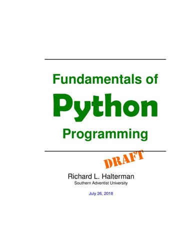 Fundamentals of Python Programming by Richard L. Halterman