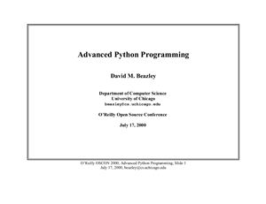 Advanced Python Programming by Beazley David M.